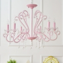 Contemporary Chandelier 6/8 Light Candle Style Pink Crystal Chandelier with Crystal Balls