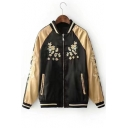 Floral Embroidered Color Block Long Sleeve Stand Up Collar Zip Up Baseball Jacket