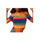 Rainbow Color Printed Off The Shoulder Short Sleeve Crop Tee