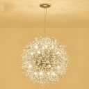15.75'' W Spherical Snow Crystal Pendant Lighting in Clear Glass