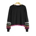 Cute Pom Pom Embellished Round Neck Long Sleeve Sweatshirt