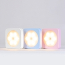 Portable Square Shape Flowery LED Night Light for Girls Bedroom in White/Pink/Blue