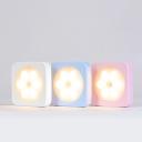 Portable Square Shape Flowery LED Night Light for Girls Bedroom in White/Pink/Blue