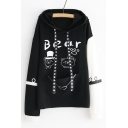 BEAR Letter Animal Printed Color Block Long Sleeve Hoodie
