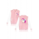 Cartoon Unicorn Printed Color Block Contrast Striped Trim Button Down Baseball Jacket