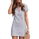 Lace Up Front V Neck Short Sleeve Striped Printed Mini A-Line Dress