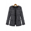 Collarless Long Sleeve Classic Plaid Printed Open Front Coat