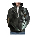 Unisex 3D Lion Printed Leisure Loose Long Sleeve Hoodie
