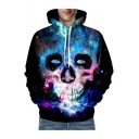 3D Galaxy Skull Printed Long Sleeve Leisure Hoodie