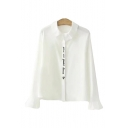 Letter Embroidered Placket Lapel Collar Long Sleeve Button Down Shirt