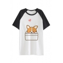 Comic Color Block Round Neck Dog Heart Raglan Short Sleeve Leisure Tee