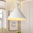 Conical Shade White Finish Hanging Light Fixture for Coffee House in Modern Style