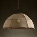 Natural Linen Shade Wire Framed Single Head Pendant Light in Rustic Style