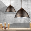 Industrial 1 Light Hanging Pendant Lamp in Aged Bronze with Dome Shade(10.24