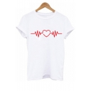 Heart ECG Printed Round Neck Short Sleeve Tee