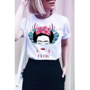 FRIDA Letter Japanese Woman Printed Round Neck Short Sleeve Tee