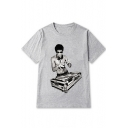 New Fashion DJ Printed Round Neck Short Sleeve Tee