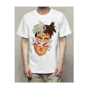 Character's Head Printed Round Neck Short Sleeve Leisure Tee