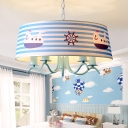 5 Lights Strips Hanging Chandelier Nautical Children Room Metal Ceiling Fixture in Blue
