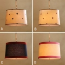 Adjustable 5 Light Drum Hanging Chandelier Cities&Countries Fabric Suspension Light for Corridor
