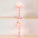 Lovely Swan Pattern Desk Lamp Modernism Girls Bedroom Metallic 1 Bulb Reading Light in Pink