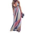 Spaghetti Straps Crisscross Open Back Striped Printed Maxi Cami Dress