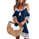 Off The Shoulder Tassel Embellished Mini A-Line Dress