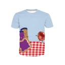 Apple Bread Color Block Plaid Printed Round Neck Short Sleeve Tee