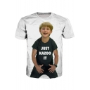 Cute Little Boy Printed Round Neck Short Sleeve Tee