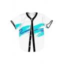 Color Block Graffiti Printed V Neck Short Sleeve Button Down Baseball Tee