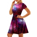 Slim Galaxy Printed Round Neck Short Sleeve Mini A-Line Dress