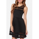 Elegant Mesh Insert Round Neck Sleeveless Mini A-Line Dress
