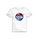 Galaxy NASA Letter Printed Round Neck Short Sleeve Graphic Tee