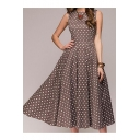 Retro Round Neck Sleeveless Polka Dot Printed Maxi A-Line Dress