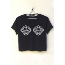 Shell Printed Round Neck Short Sleeve Crop Tee