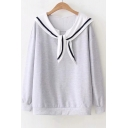 Color Block Contrast Striped Navy Collar Long Sleeve Sweatshirt