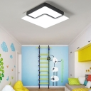 19.69'' W Modern Square LED Flush Mount Ceiling Lamp in Black and White