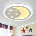 Cartoon Moon and Star Acrylic Children Bedroom LED Ceiling Lamp
