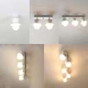 One/Two/Three/Four/Five Light White Semi-Flush Ceiling Light with Shallow Round Shade