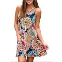 Round Neck Tribal Printed Sleeveless Mini A-Line Dress