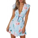 Vintage Floral Printed V Neck Short Sleeve Mini A-Line Dress
