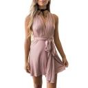 V Neck Sleeveless Hollow Out Twist Straps Back Plain Mini A-Line Dress