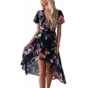 Short Sleeve Floral Printed V Neck Midi Asymmetric Dress