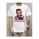 NOTORIOUS Letter Character Printed Round Neck Short Sleeve Tee