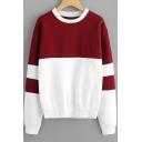 Round Neck Color Block Long Sleeve Loose Sweatshirt