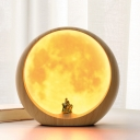Stand Anywhere Switch Moon/Mountain Wooden Night Light