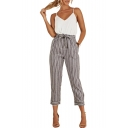 Striped Printed Tie Waist Slim Leisure Crop Pants