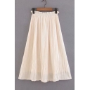 Elastic Waist Leisure Plain Maxi Pleated Skirt