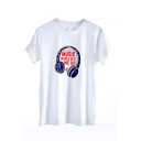 MUSIC Letter Earphone Printed Round Neck Short Sleeve Tee