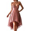 Spaghetti Straps Sleeveless Midi Asymmetrical Lace Dress
